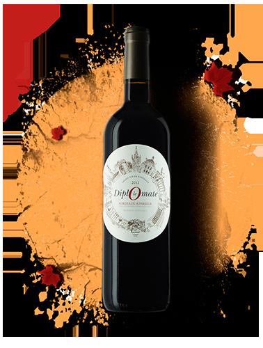 bouteille, rouge, vignes, le diplomate, vin, bordeaux